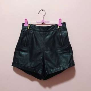 Topshop Black Leather Shorts