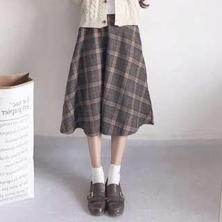 🚚 日系毛呢格子裙