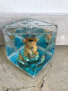 Cute Bear Shakeable Crystal Rectangular Pen Holder/Paper Weight
