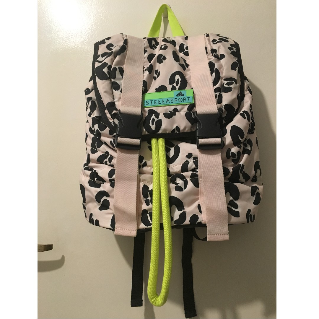 ... adidas By Stella McCartney Sport Leopard Dark Grey Echo Pink Polyester  Backpack, Women s Fashion ... a22a4dfc40