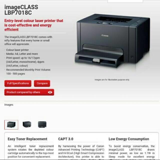 Canon COLOR laser printer LBP7018C ( no toner), Electronics