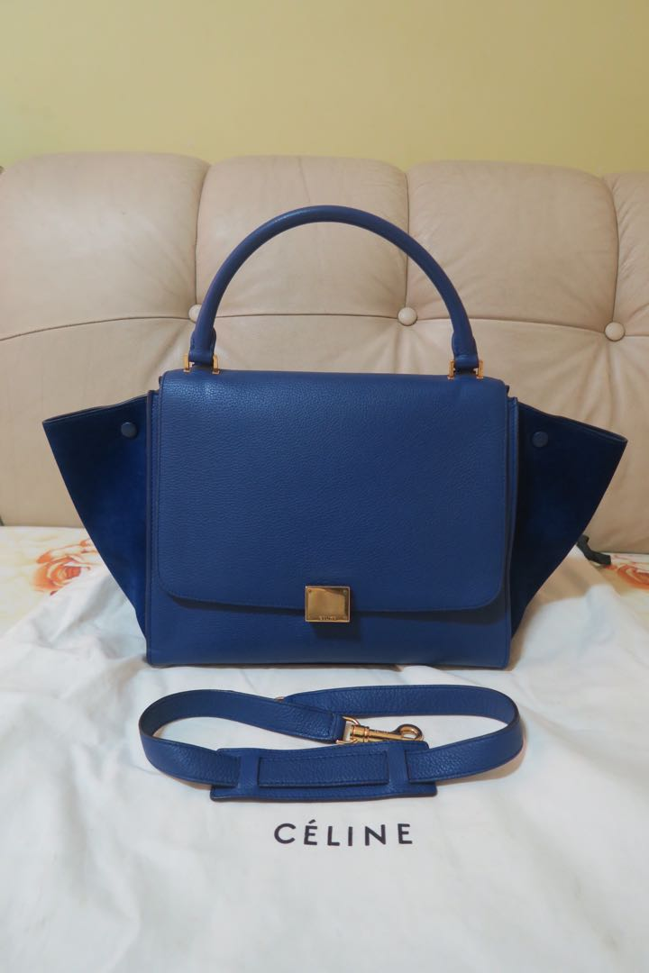 d037e5531eb Celine Trapeze Bag Medium in Blue, Luxury, Bags & Wallets on Carousell