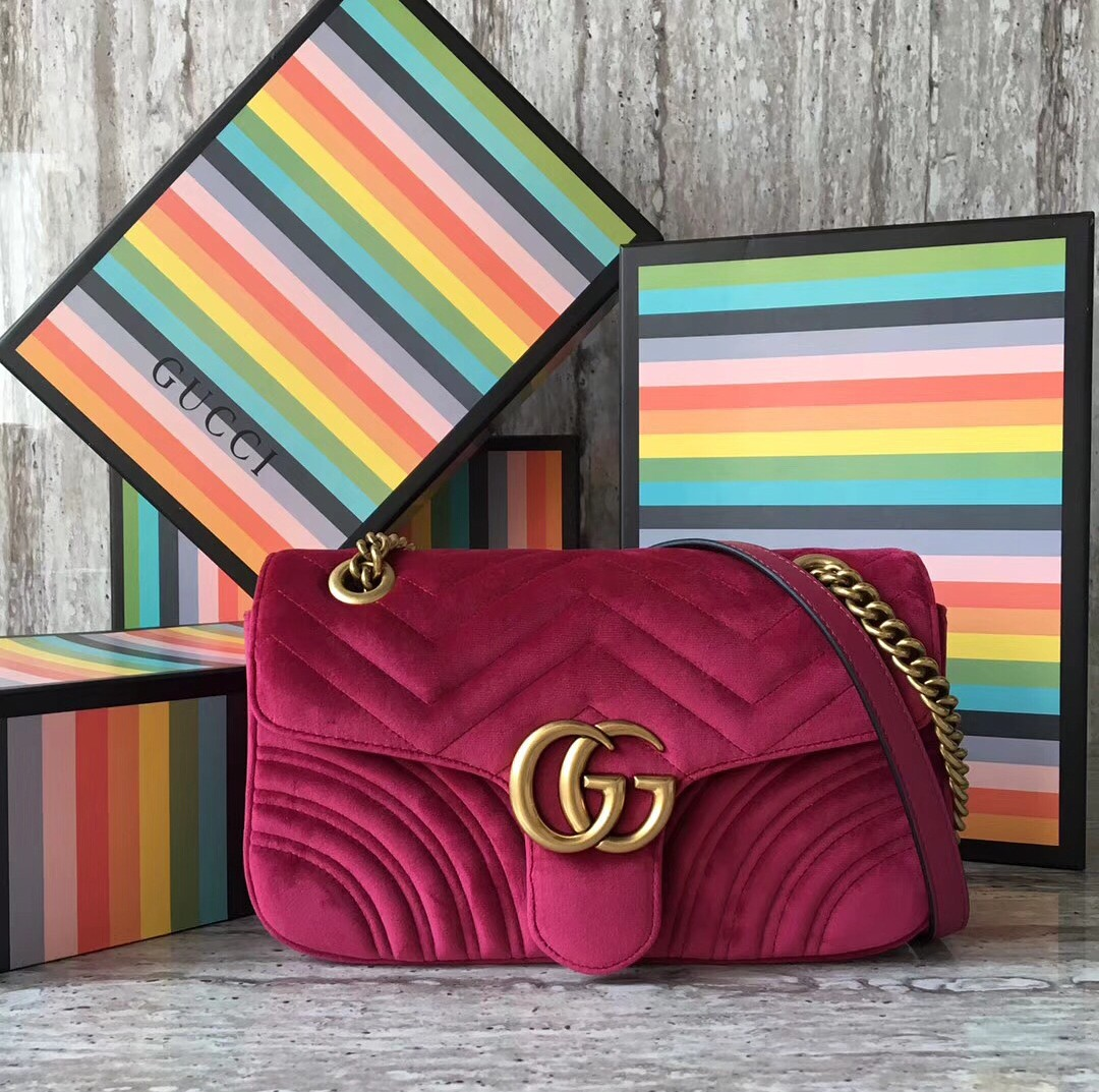 0c7357a16587 GUCCI GG MARMONT VELVET SMALL BAG, Luxury, Bags & Wallets on Carousell
