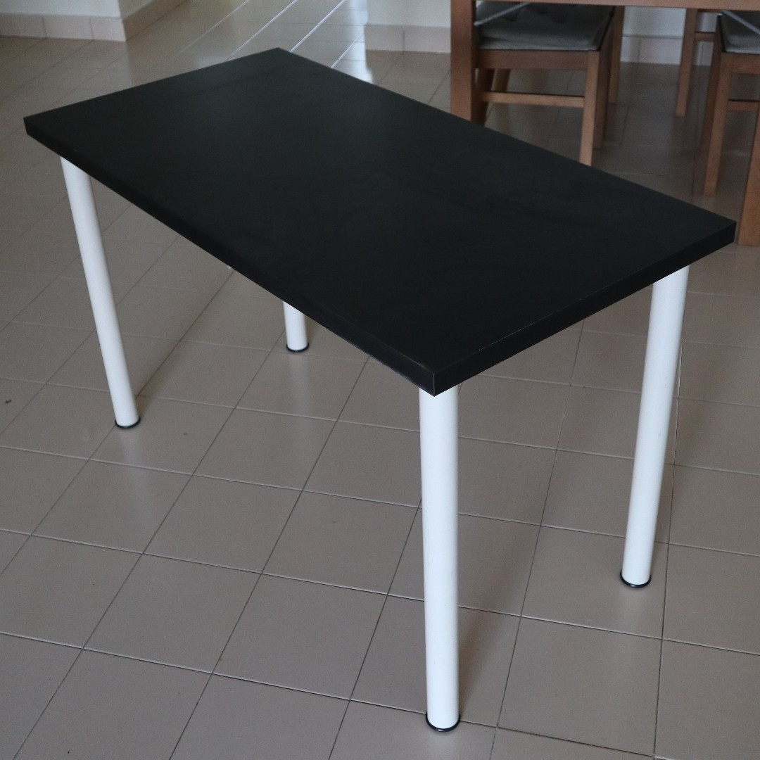 Linnmon Table Black Brown With White Legs Furniture Tables Chairs On Carousell