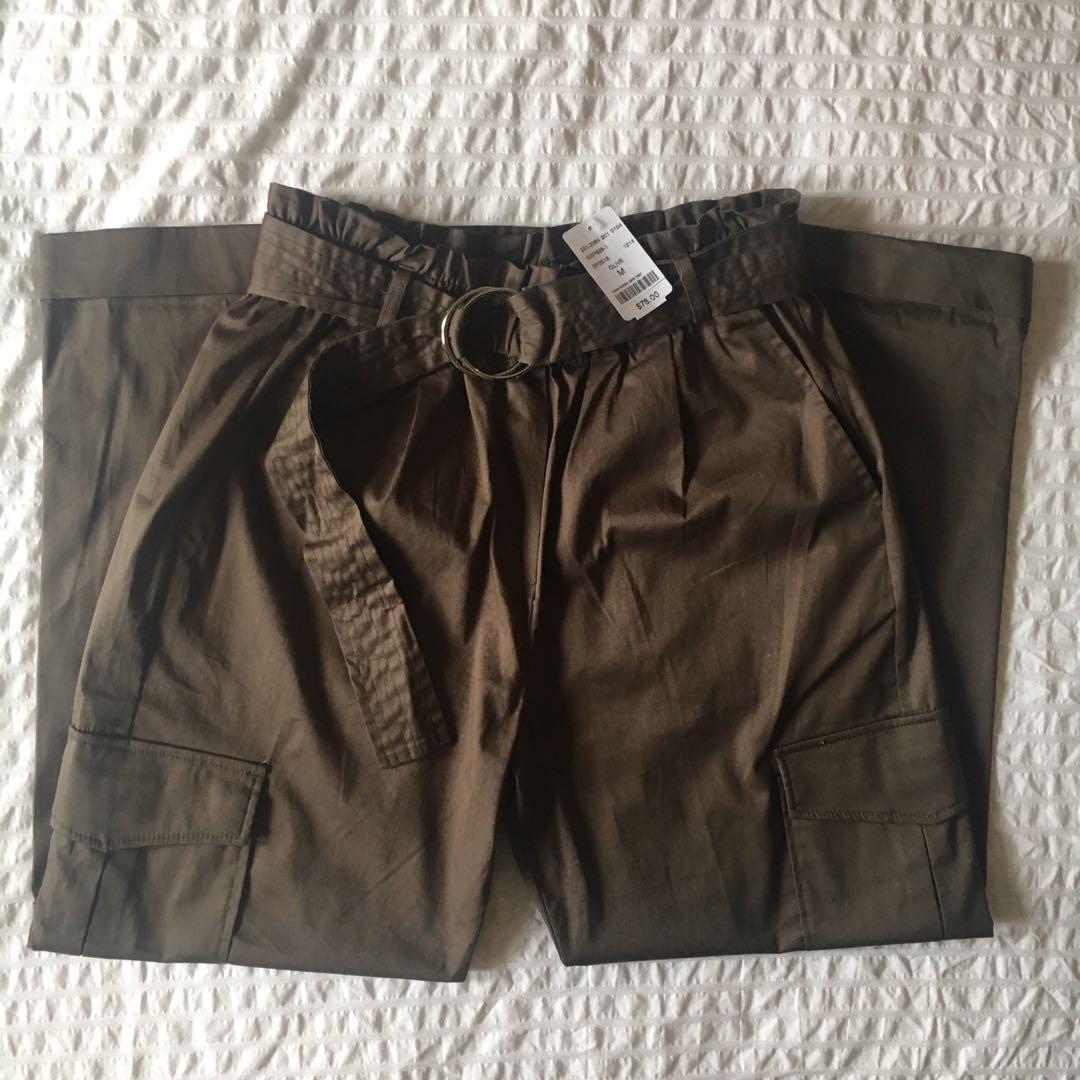 M Boutique - Olive Cargo Pants With Belt