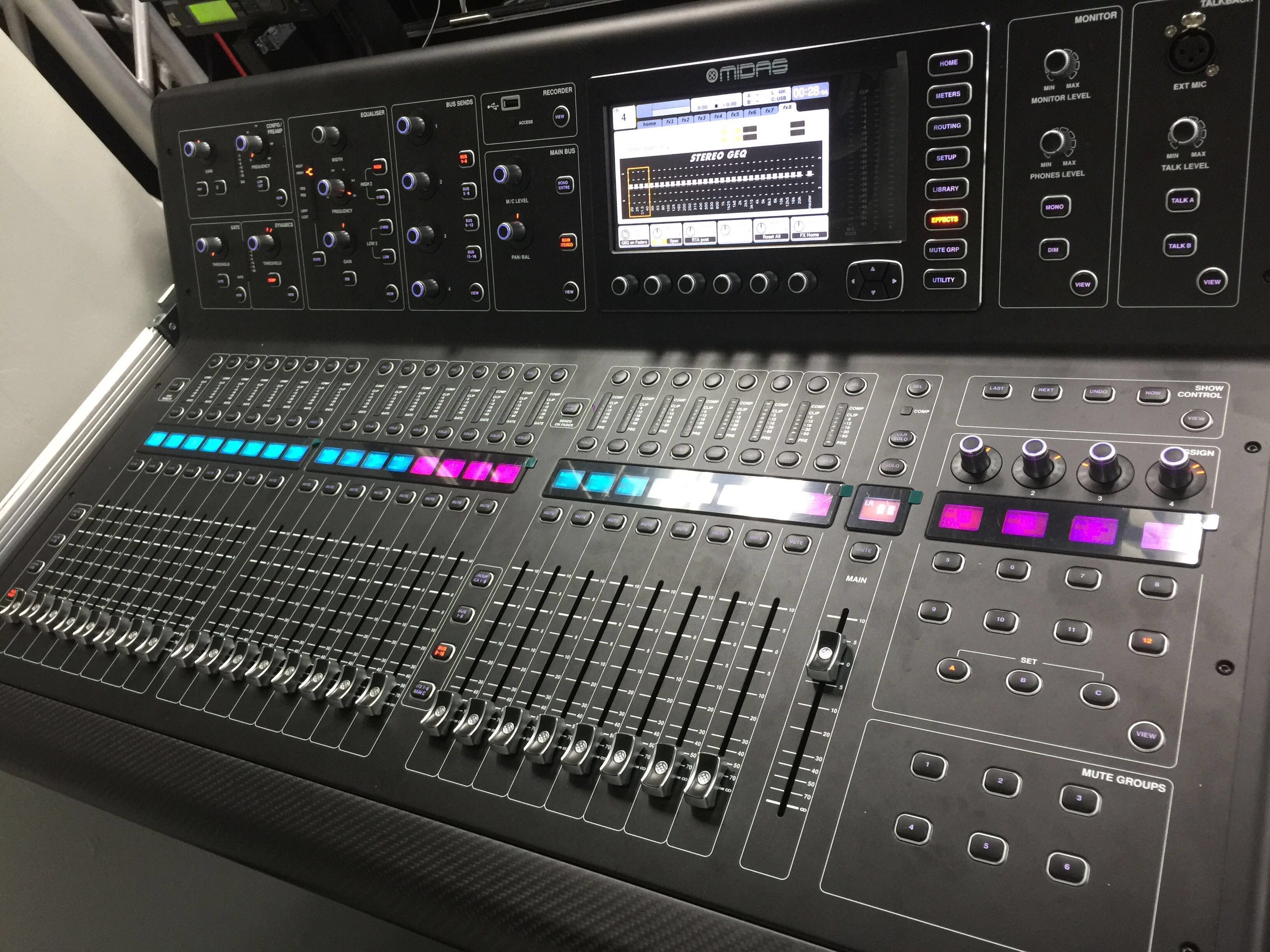 Midas M32 digital sound board for rental
