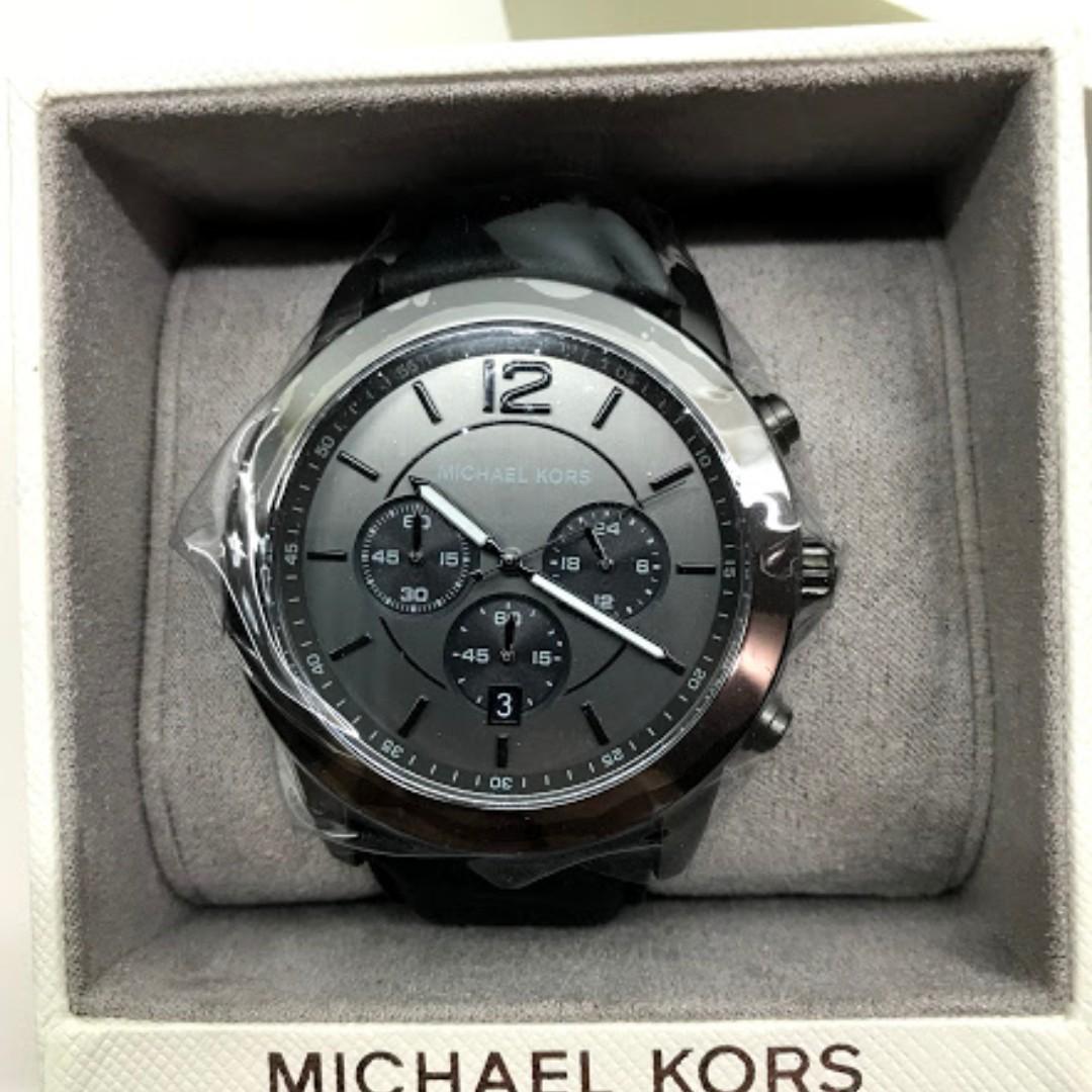 ff77effbea39 MK8434 Michael Kors Men s Stainless Steel Black Leather Chronograph ...