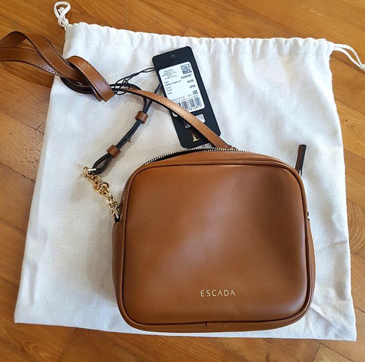 New Escada Women s Full Leather Crossbody Sling Bag (Brown and Steel ... 24a240801a95d