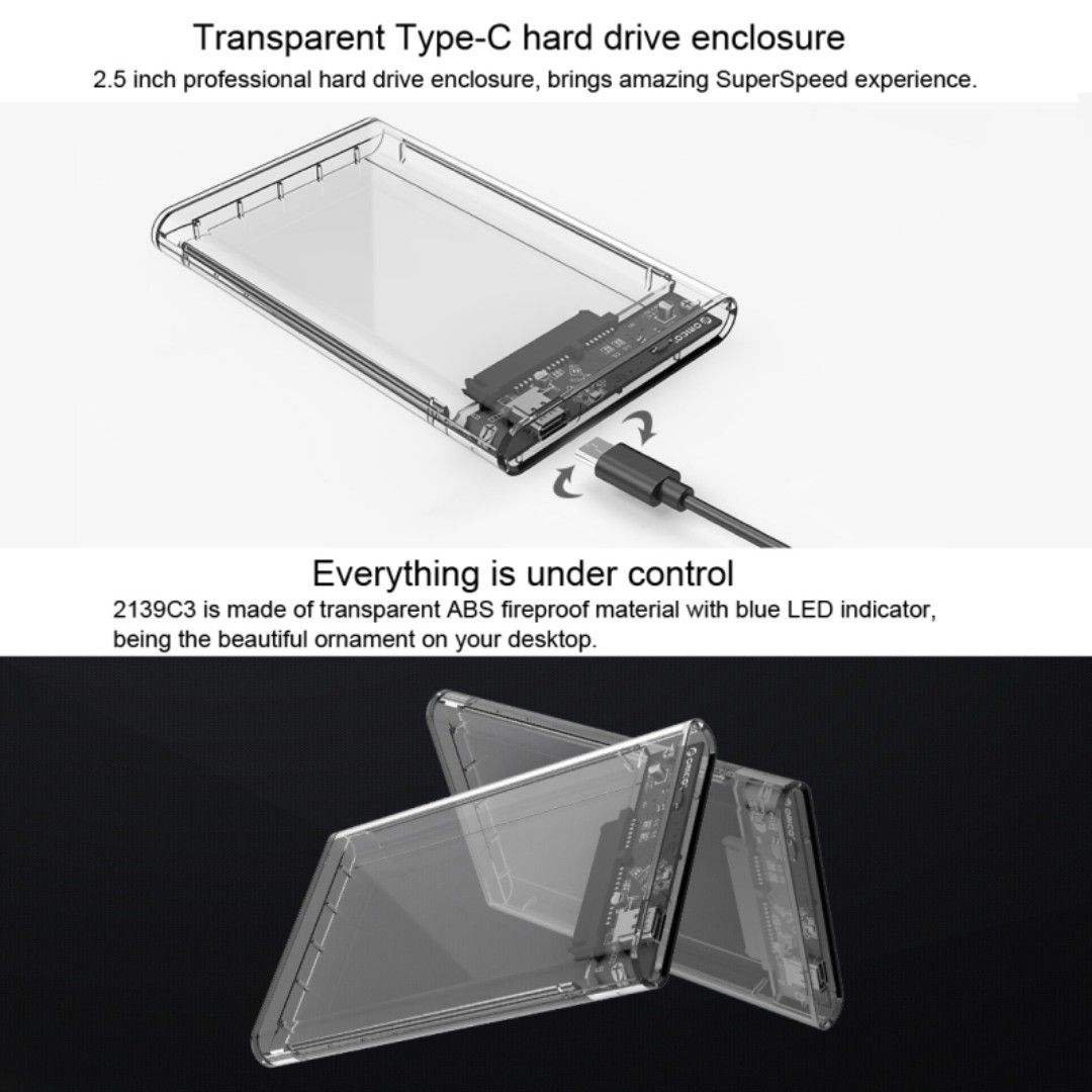 Orico 2139c3 25 Inch Transparent Hdd Case Type C To Sata 30 Tool 1 Bay External Enclosure 2 Usb 2599us3 V1 Casing Hardisk Free 5 Gbps 31 Hard Drive Electronics Computer Parts