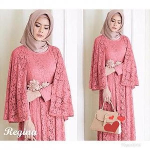 R Ld Regina Baju Dress Panjang Wanita Cewe Muslim Hijab Syari Brukat