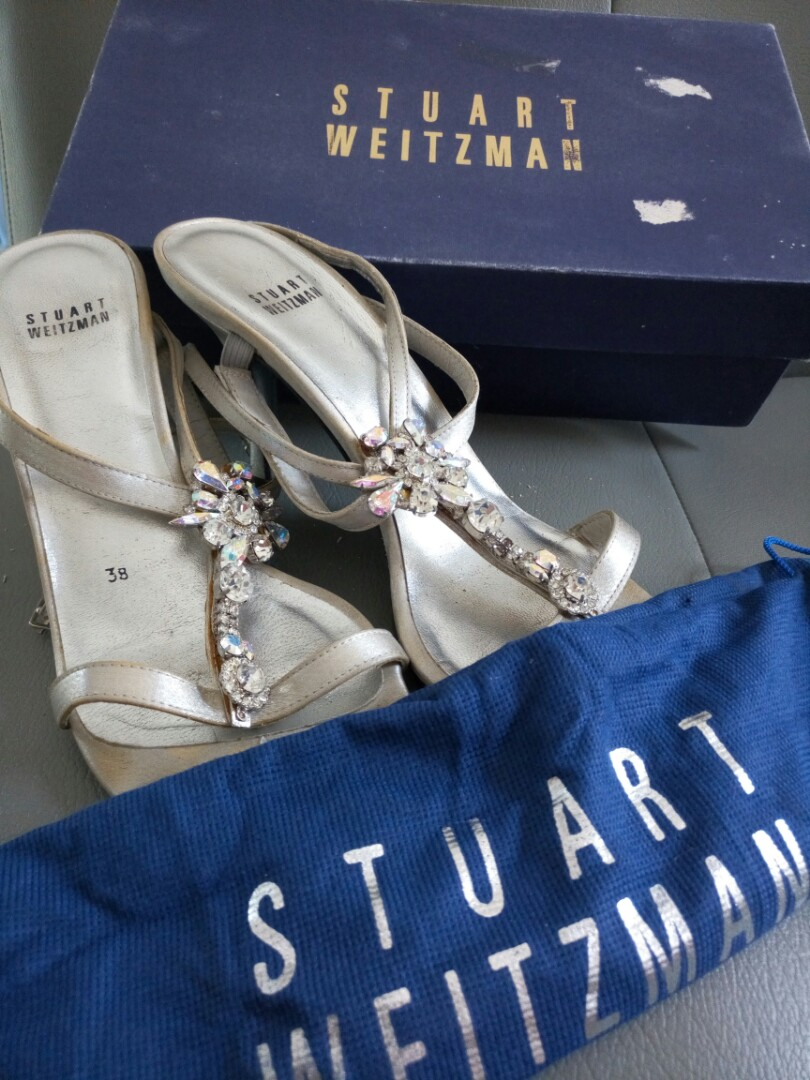 Authentic Struart Weitzman heel shoes in silver bling2 Turun Harga