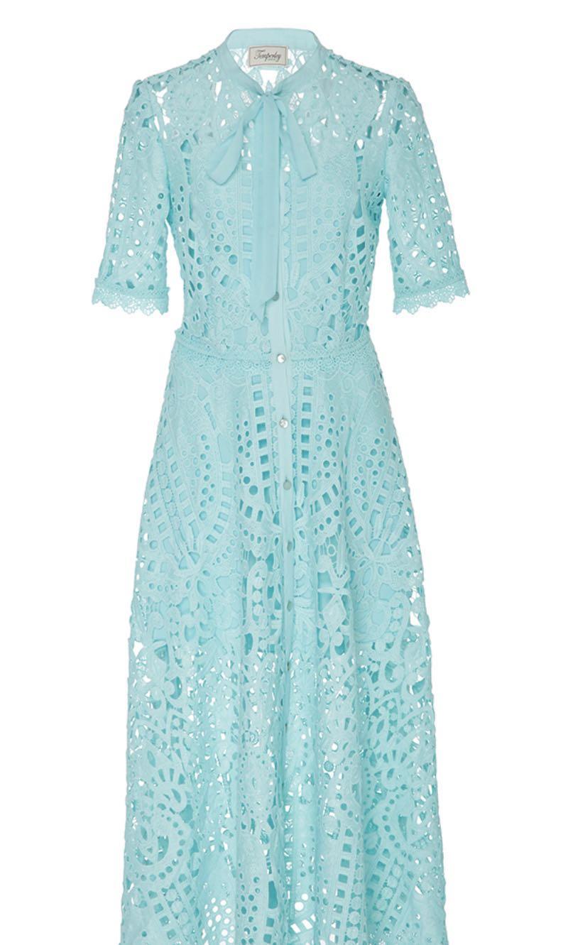 a609d899cf6f Temperley Berry Lace Neck Tie Dress