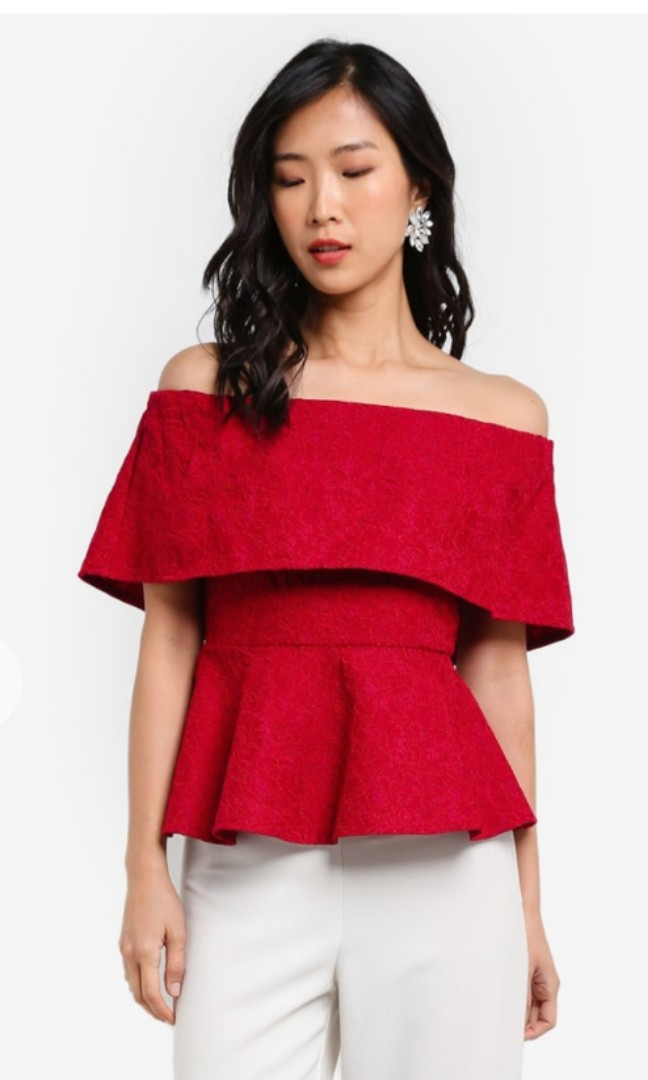 dd7c9f4820a70 Zalora lace off shoulder peplum top