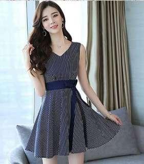 74417 #條纹修身無袖百搭連衣裙  尺码:S M L XL  颜色:條纹藍