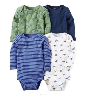 *3M* BN Carter's 4-Pack Long Sleeve Bodysuits For Baby Boy
