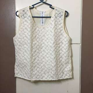 Floral Semi Crop Top with Eyelet Style