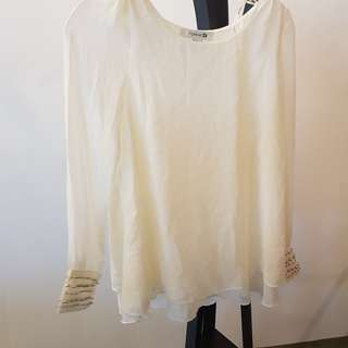 Forever 21 white chiffon blouse with embellished cuffs