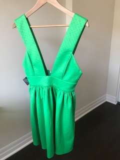 Nasty Gal, Green plunge dress