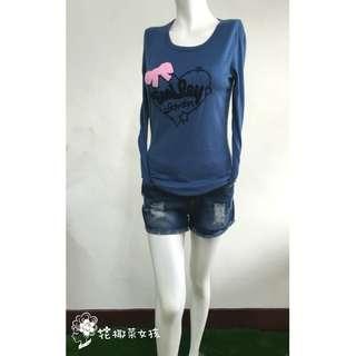 🚚 現貨.超值套裝組.藍色長袖上衣蝴蝶結圖騰款素面上衣+刷破藍色短褲套裝組.SG1-ON-141.花椰菜女孩