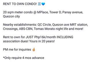 MPlace rent to own condo/For sale unit