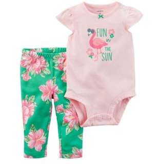 *24M* BN Carter's 2-Piece Bodysuit Pant Set  For Baby Girl
