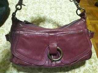 GJILI Genuine Leather Small Maroon Handbag
