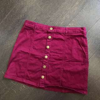 Forever 21 Burgundy button down skirt