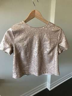 Forever 21 Blush Pink Sequin crop