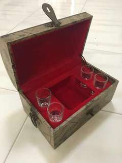 Music Box Shot Glass Chest for display