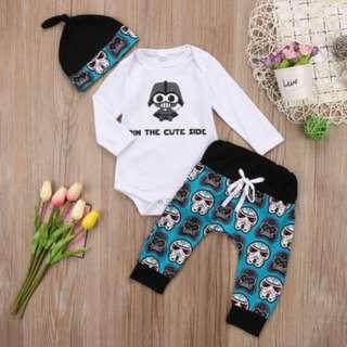 Newborn Baby Boy Girl Tops Romper Pants Hat 3Pcs Outfits Set Clothes