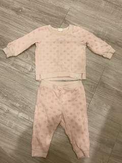 H&M 女寶寶粉色點點長袖套裝
