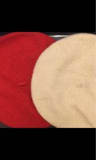 🚚 紅/米白貝蕾帽