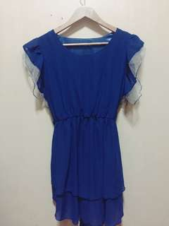 Royal Blue Sheer-type Long Blouse