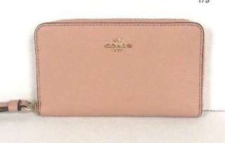Brand New Coach crossgrain nude pink leather wallet