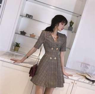 Plaid Cross Button Dress
