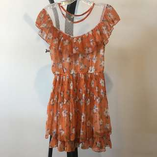 Oasap orange mesh detail flounce pleat floral print dress