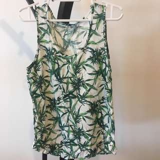 Emoda botanical print green and white tank top