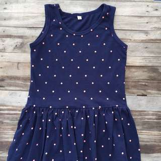 Kid's waist cut Dress-Navy blue Polka