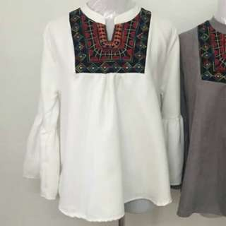 Blouse (White) and Nisha Embroidery Top (Black)