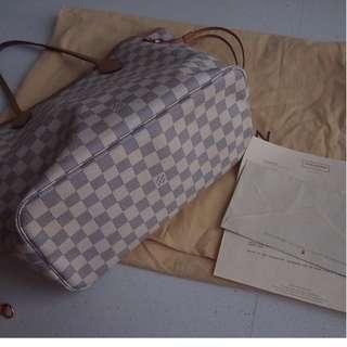 Louis Vuitton Neverfull Damier Azur MM (with receipt)