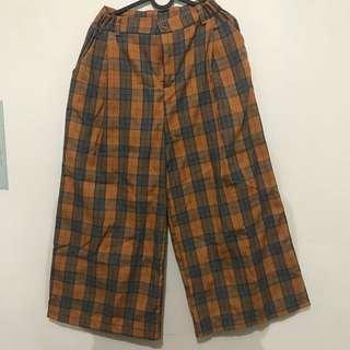 🚚 古著格紋寬褲