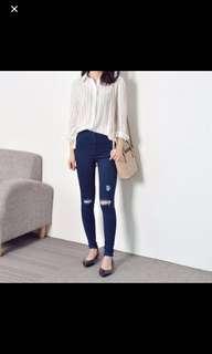Stylish Dark Blue High Waist Torn skinny Jeans 欧美风显瘦高腰膝盖大破洞修身铅笔裤牛仔裤 弹力长裤