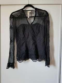 Black lace shirt size small