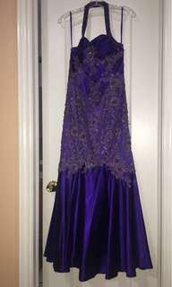 Purple floral spaghetti strap dress