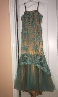 Women's turquoise and gold floral sleeveless dress
