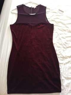 garage velvet maroon dress - size large