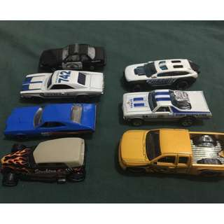 six hotwheels and one matchbox assorted diecast cars toys