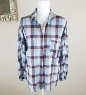 Preloved Zara Trafaluc Cotton Linen Blend Shirt - Multi Color Plaid