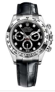 Like new solid 18k white gold rolex daytona black diamond dial 116519