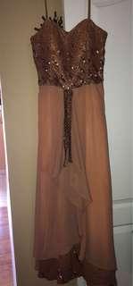 Brown gold dress